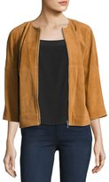 Neiman Marcus Cropped Suede Bomber Jacket, Luggage