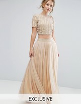 Lace and Beads Lace & Beads Maxi Tulle Skirt with Embellished Waist Co Ord