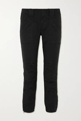 Frame Paneled Stretch-cotton Tapered Pants - Black