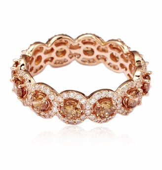Suzy Levian 14K Rose Gold Plated Sterling Silver CZ Champagne Round Eternity Band Ring