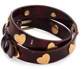 Tory Burch Heart-Studded Leather Double-Wrap Bracelet
