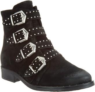 Miz Mooz Leather Buckle Ankle Boots - Edgy