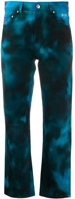 MSGM Cropped Tie Dye Jeans