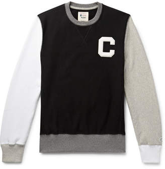 Todd Snyder + Champion Appliqued Colour-Block Loopback Cotton-Jersey Sweatshirt