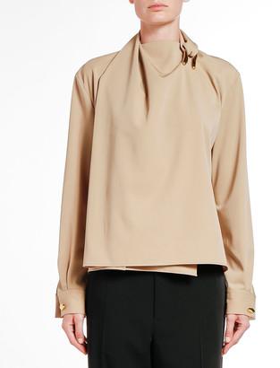Bottega Veneta High-Neck Liquid Gabardine Blouse