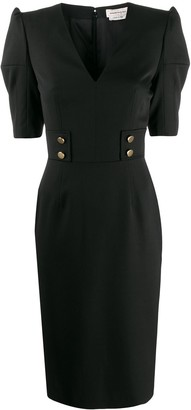 Alexander McQueen Buttoned Fitted Midi Dress