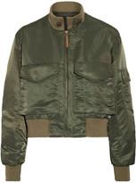 Nili Lotan Mcguire Satin-twill Bomber Jacket - Army green
