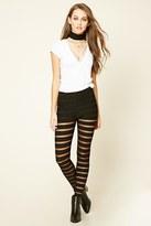 Forever 21 FOREVER 21+ Mesh-Striped Leggings