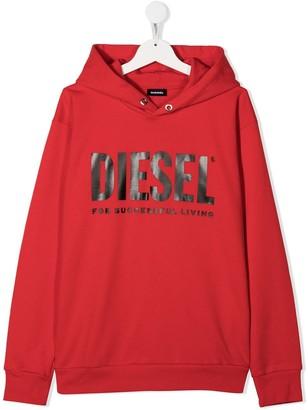 Diesel TEEN logo-print cotton hoodie