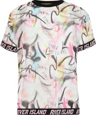 River Island Girls RI Active Pink printed mesh T-shirt