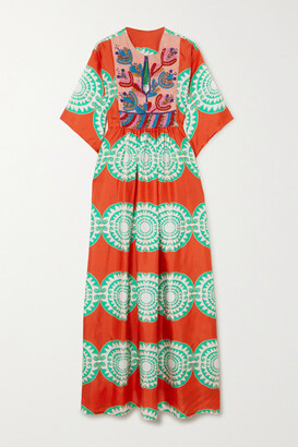 RIANNA + NINA Celia Bead-embellished Printed Silk And Pique Maxi Dress - Red