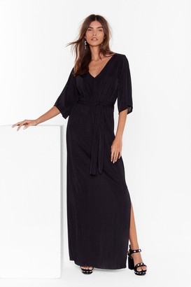 Nasty Gal Womens On the Wings of Love V-Neck Maxi Dress - Black - 6, Black