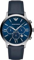Emporio Armani Emporio Armani Giovanni Blue and Silver Detail Chronograph Dial Blue Leather Strap Mens Watch
