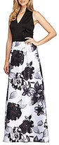 Alex Evenings Halter V-Neck Floral Ballgown