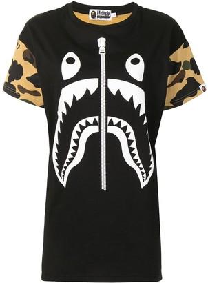 A Bathing Ape camouflage shark T-shirt dress