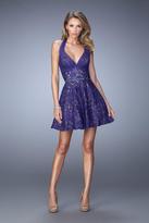 La Femme 22011 Embellished Halter A-line Dress