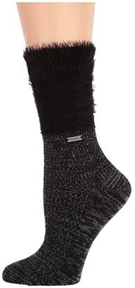 Sorel Space Dye Fluffy Top Wool Crew (Black) Women's Crew Cut Socks Shoes