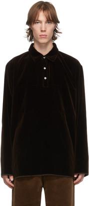 Camiel Fortgens Brown Velvet Stripe Long Sleeve Polo