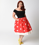 Unique Vintage Plus Size 1950s Red & Ivory Polka Dot High Waist Circle Swing Skirt