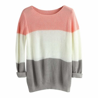 Lazzboy Women Jumper Plus Size Sweater Tops Knitted Long Sleeve Colour Block Striped Round Neck Loose Ladies Pullover(5XL(22)