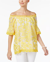 Charter Club Lantern-Sleeve Lace Top, Only at Macy's