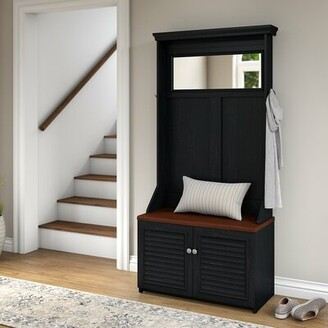 Beachcrest Home Oakridge Hall Tree with Shoe Storage Bench Color: Antique Black