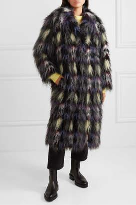 Kenzo Blanket Check Faux Fur Coat - Black