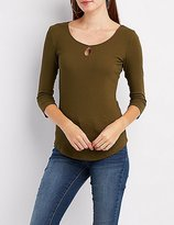 Charlotte Russe Ribbed Keyhole Fitted Tee