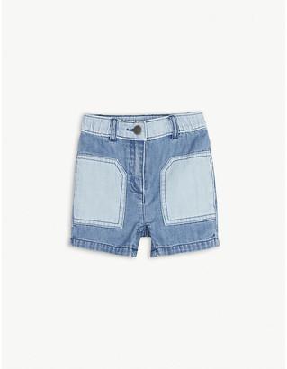 Stella McCartney Two-tone denim cotton shorts 6-36 months