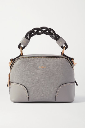 Chloé Daria Mini Textured And Smooth Leather Tote - Gray