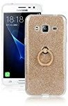 Moonmini Samsung Galaxy J3 Case Cover Sparkling Slim Fit Soft TPU Back Case Cover with Ring Grip Stand Holder 2 in 1 Hybrid Glitter Bling Bling TPU phone Case Cover (Golden)