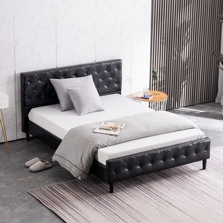 Overstock Bedroom Button Decoration PU Iron Bed Full White and Black