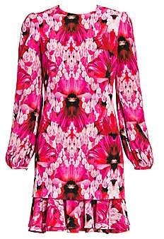 Alexander McQueen Women's Orchid Print Silk Shift Dress