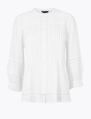 Marks and Spencer Pin Tuck Lace Insert Long Sleeve Blouse