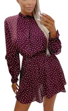 AX Paris Women's Polka Dot Frill Shirt Dress