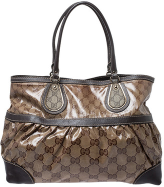 Gucci Brown GG Crystal Canvas and Leather Mix Tote