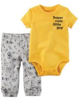 """Carter's 2-Piece """"Super Cute Little Guy"""" Bodysuit and Pant Set in Yellow"""