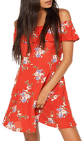 Miss Selfridge Petite Bardot Print Dress, Red