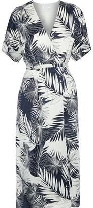 Equipment Tavine Printed Washed-silk Midi Wrap Dress