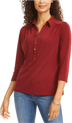 Charter Club Petite 3/4-Sleeve Polo Top