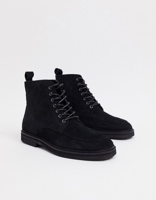 Walk London slick heritage lace up boots in black suede