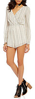 Billabong Coastal Break Surplice Long-Sleeve Striped Romper