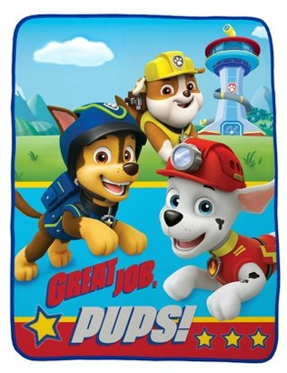 """Nickelodeon Paw Patrol 40"""" x 50"""" Kids Silky Soft Throw feat. Chase, Marshall & Rubble"""