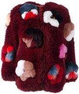 Fendi flower appliqué fox fur jacket - women - Silk/Fox Fur/Lamb Skin/glass - 40
