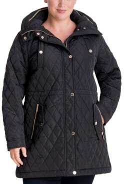 Michael Kors Michael Plus Size Hooded Quilted Anorak Coat, Created for Macy's