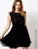 Asos Exclusive Skater Dress With Deco Sequin Top - Black