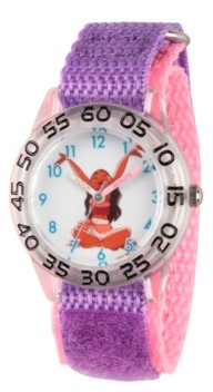 EWatchFactory Disney Moana Girls' Clear Plastic Time Teacher Watch