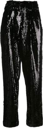 Sally LaPointe sequined high-waisted trousers