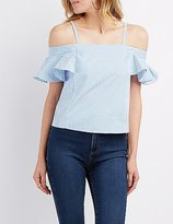 Charlotte Russe Striped Cold Shoulder Ruffle Sleeve Top