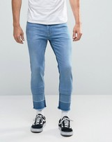 Asos Skinny Ankle Grazer Jeans In Mid Wash
